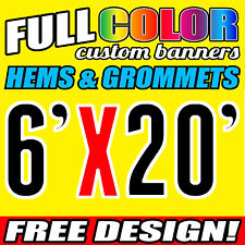 Personalized 6' x 20' Full Color Custom Banner 16oz thick Vinyl - Fast Shipping