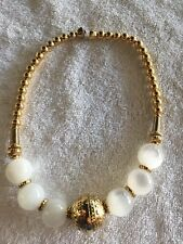 New White Glass & Gold Toned Globes Necklace