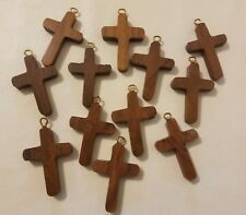 12 Wood 42mm Religious Wooden Cross Pendants Charms Jewelry Sunday School Crafts