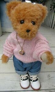 "VINTAGE MOHAIR TEDDY BEAR GIRL 18"" SUE CORBETT KIDS SOCK HOP SHOES PINK SWEATER"
