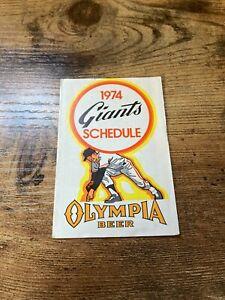 1974 SAN FRANCISCO GIANTS SCHEDULE OLYMPIA BEER