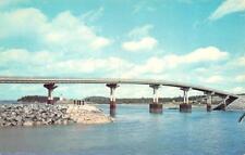 CAMPOBELLO ISLAND, NB Canada  ROOSEVELT BRIDGE to LUBEC Maine  Chrome Postcard