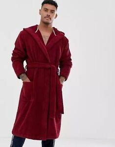 Tommy Hilfiger Luxury Signature Logo Hooded Bathrobe Red Gift Boxed Size Medium