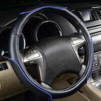 Universal Sports Steering wheel Cover Leather Blue Black 37 38 cm for Sedan SUV