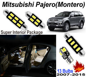 13pcs Xenon Fit Mitsubishi Montero Pajero 2007-2015 White LED Interior Light Kit