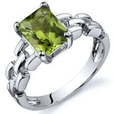 Chain Link 1.50 cts Green Amethyst Engagement Ring Sterling Silver Sizes 5 to 9