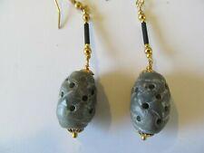 CARVED GREEN JADE GLASS BARREL w/GOLD BEADS & BLACK STEM PIERCED EARRINGS