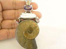 Fossil Ammonite Biwa Pearl Amethyst Garnet 925 Sterling Silver Pendant