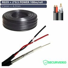 MATASSA 100metri CAVO COASSIALE RG59 + 2*0.5 ALIMENTAZIONE TELECAMERE 5.5+4.2mm