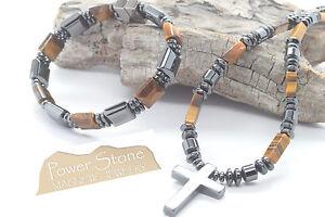 Holy Cross Pendant Necklace~Matching Tiger's Eye Stone Magnetic Bracelet Set
