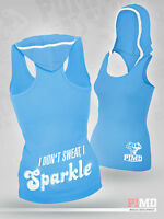 PIMD Women Hooded Vest - Light Blue Cotton Gym Fitness Top Female Ladies Hood