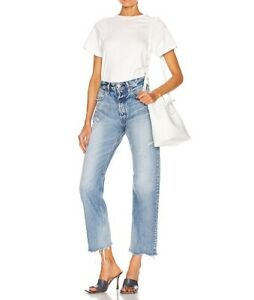 Moussy Vintage Lomita wide leg straight distressed denim jeans 24 pre-owned