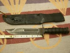 "CAMILLUS NEW YORK USA MILITARY FIGHTING KNIFE W/ SHEATH STACK LEATHER 12"" O.A."