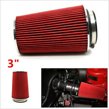 "Universal 3"" Inlet Car Autos Long Ram Cold Air Intake Filter Cone Air Filter Red"