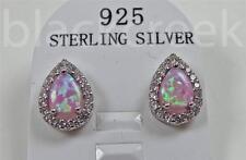 925 Sterling Silver ~Pear~ Pink Fire ~Opal ~ Stud Earrings~ Pierced~
