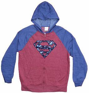 Superman Mens Zip Up Hoodie  - Blue Lined Logo Image