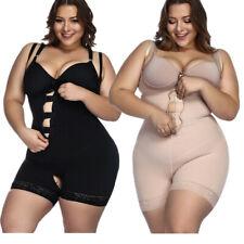 Plus Size Women Full Body Shaper Zipper Bodysuit Waist Trainer Cincher Corset