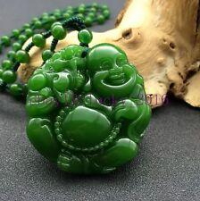 Xinjiang natural hotan green jade carving Maitreya Buddha pendant AMULET