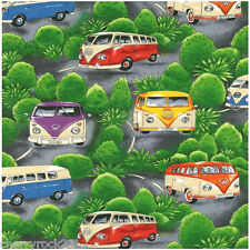 Nutex VW ON TOUR Fabric - Volkswagen VW Camper Vans - Green