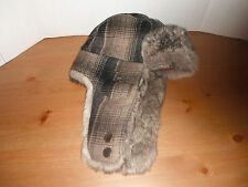 Woolrich PLAID Trapper bomber Cap Hat faux fur lined MEDIUM New