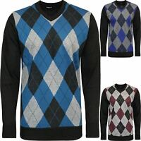Mens River Road Diamond Argyle Jumper Knitted V Neck Sweater Pullover Soft Top