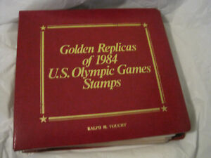 First Day Issue Golden Replicas 1984 US Olympic Stamps 22K Gold~LBDAT
