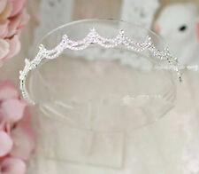 Girl Kids Crystal Crown Tiara Wavy Bling Wedding Party shiny Hair Head band
