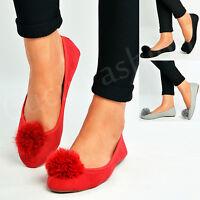 New Womens Ladies Flat Pom Pom Ballerina Dolly Pumps Slip On Shoes Size Uk 3-8