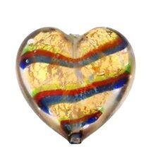 VBS9 Murano Venetian Heart Bead Gold Foil Multi 20mm  PK1 **UK EBAY SHOP**
