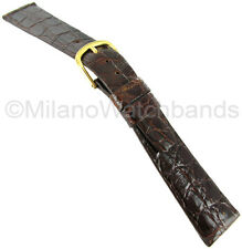 19mm Milano Genuine Selected Crocodile Brown Unstitched Flat Watch Band 1057