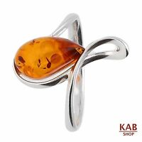 BALTIC AMBER GEMSTONE & STERLING SILVER 925 BEAUTY STONE RING. KAB-113 R