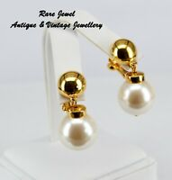VINTAGE NAPIER EARRINGS MINT COND PEARL DROPS CLIPS SIGNED 1950s UNWORN