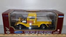 1/18 YATMING/ROAD LEGENDS 1934 FORD PRO STREET PICK UP TRUCK YELLOW W/FLAMES bd