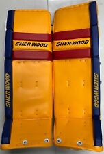 New Sherwood T100 V series Pro Stock Hockey Goalie Leg Pads 36+1 Yellow/Blue/Red