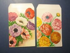 Lot of 2 Old Vintage 1950's - Large Size - Flower SEED PACKETS - EMPTY