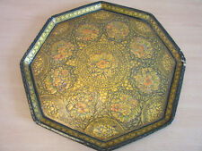 Antique Indian India Paper Mache highly decorated gold flower octagonal tray