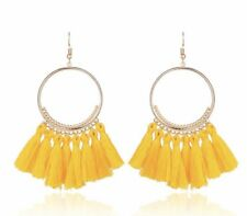Gold Yellow Long Drop Tassel Fashion Earring Boho Festival Party Boutique Uk