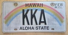 "HAWAII RAINBOW VANITY LICENSE PLATE "" KKA "" KEN KEITH KIM KEVIN ANDERSON ALLEN"