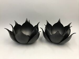 Open Box -  Lotus Candle Holder Black by Zuo Modern Set of Two