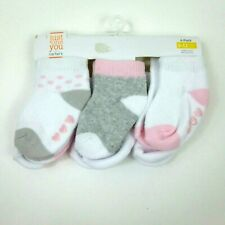 Carter's Just One You 6 Pairs Baby Girls Ankle Socks sz 3-12 Months Pink Hearts