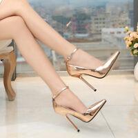 Crossdresser Large High Heels Big Stiletto Drag Queen Gold Red Ankle Strap Shoes