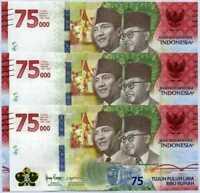 2020 INDONESIA 75000 RUPIAH P-NEW UNC HYBRID BANKNOTE >75TH ANNIV. COMM. x 3pcs