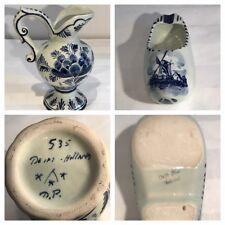 Antique 19th Century Delft Blue & White Decorative Items Jug & Modern Clog