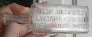 Tone Brothers Flavoring Extracts,Tones Spices, Des Moines, Iowa IA Glass Bottle