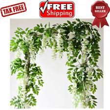 Artificial Flowers Silk Wisteria Ivy Vine Green Leaf Hanging Garland 6.6ft  2pcs