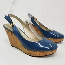 Tahari Womens Casey Slingback Wedge Sandals Blue Buckle Round Toe Leather 8.5 M