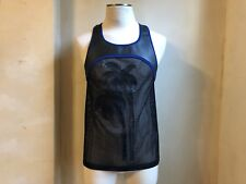 DSQUARED² RUNWAY BLUE BLACK LEATHER PALMS HARNESS MESH MUSCLE TANK SINGLET S M