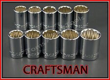 CRAFTSMAN HAND TOOLS 10pc 12pt 1/2 SAE & METRIC MM ratchet wrench socket set