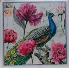 Handmade Stone Ceramic Tile Marble Drink Cup Coaster - Set of 4 - Peacocks 1 B
