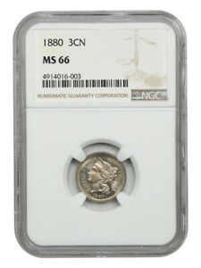1880 3cN NGC MS66 - Low Mintage Date - 3-Cent Nickel - Low Mintage Date